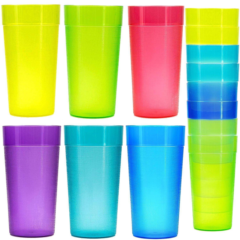 18 Pack 20 oz Plastic Tumblers, Cafe Break-Resistant Drinking Glasses, Restaurant-Quality Shatterproof Beverage Tumblers, 6 Assorted Colors