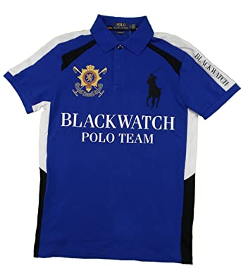 Polo Ralph Lauren Men\u0027s BLACKWATCH Big Pony Custom Fit Polo Shirt (S, Blue)