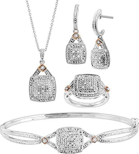 1//5 ct Diamond Heart Earring /& Pendant Set in Sterling Silver /& 14K Rose Gold