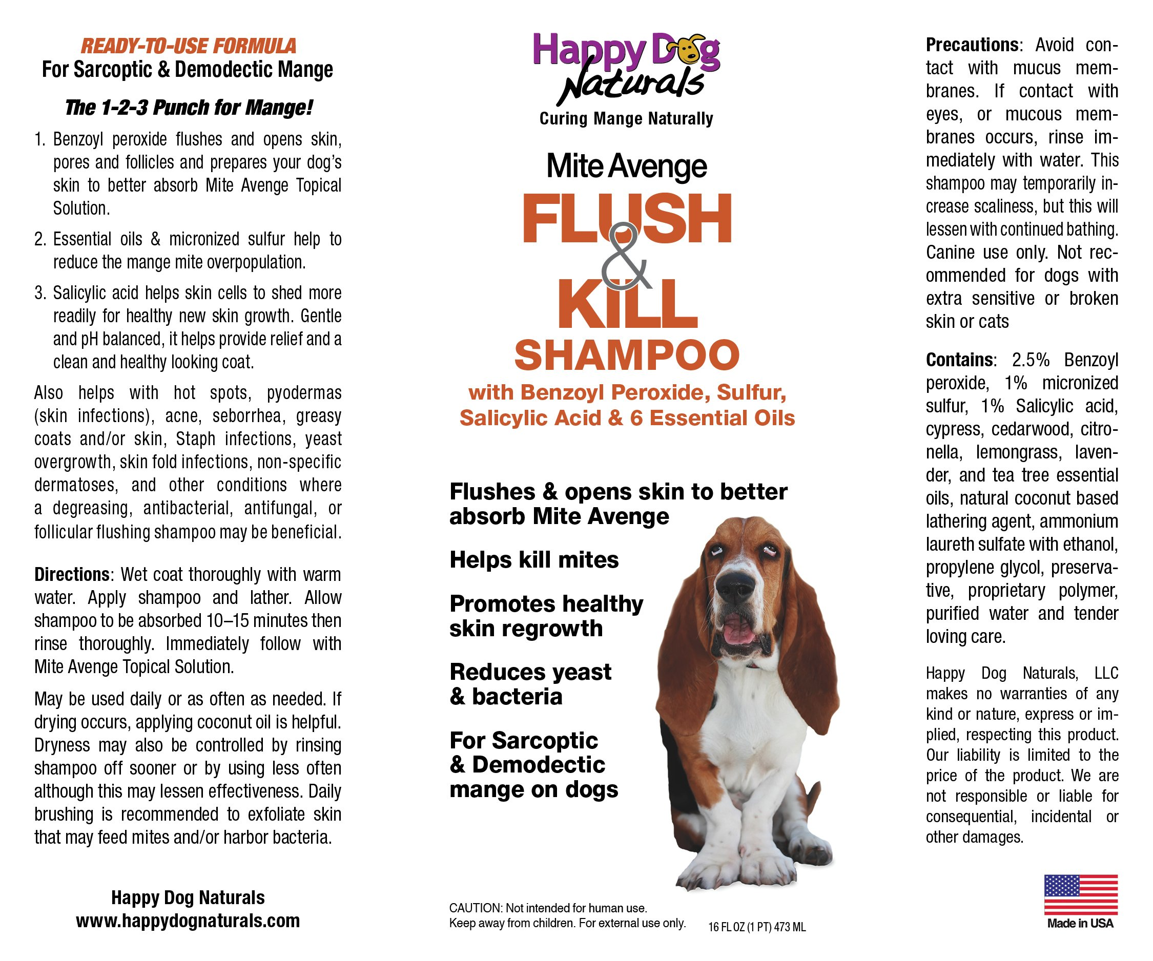 Flush & Kill Benzoyl Peroxide Shampoo for Dog Mites 16 oz