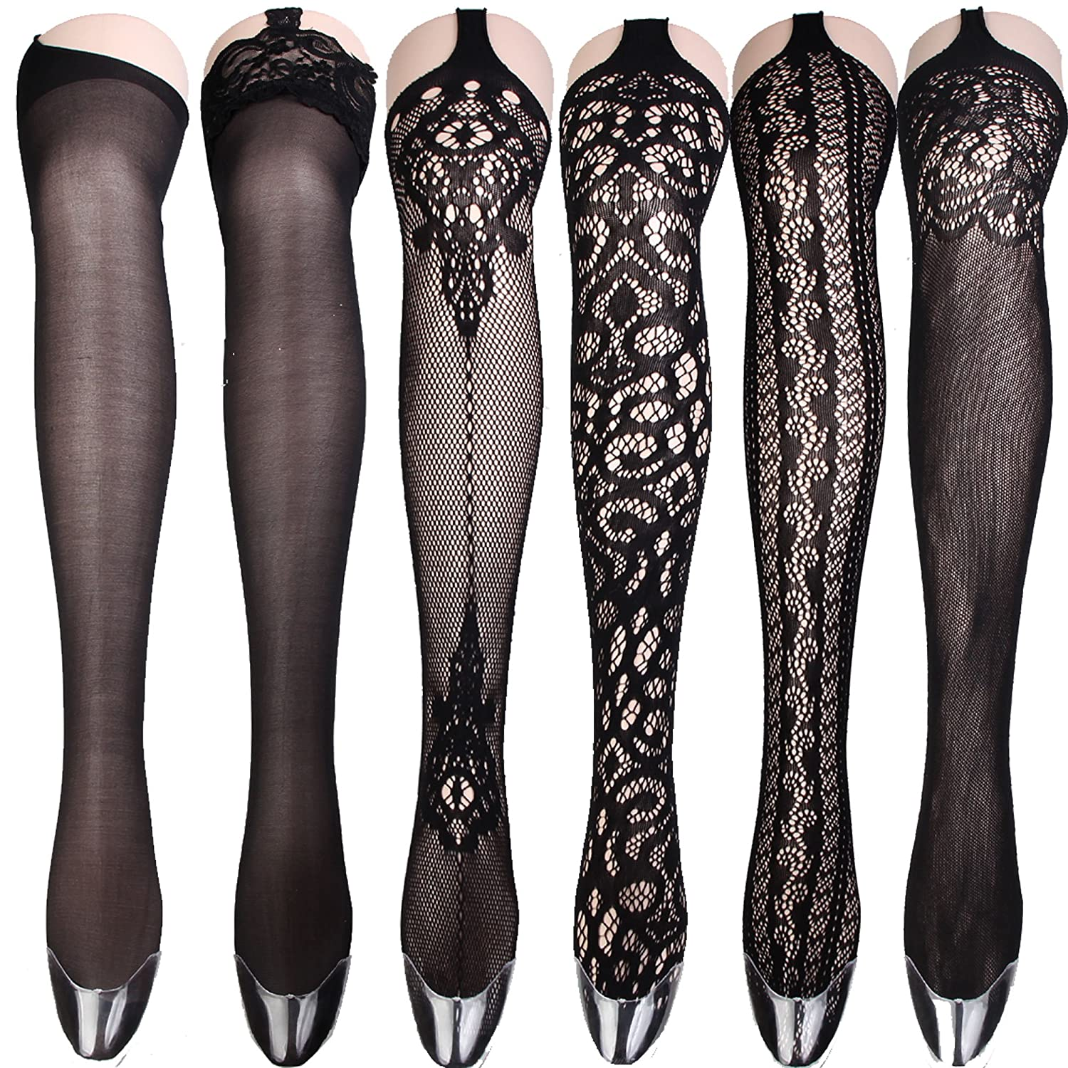 2fdfaec3c Women Sexy Big Cross Fishnet Tights Large Mesh Sheer Stockings Hollow Out Pantyhose  Hosiery (4pcs) at Amazon Women s Clothing store