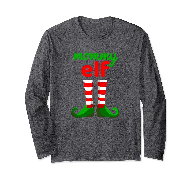 MOMMY ELF Funny Christmas T-Shirt | Santa Helper Long Sleeve-Rose