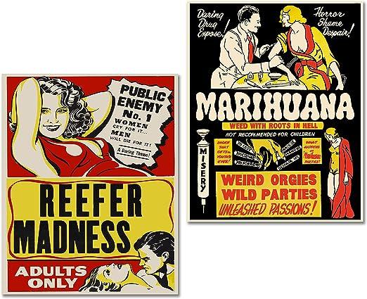 Amazon.com: Marihuana Cannabis carteles de propaganda Reefer ...