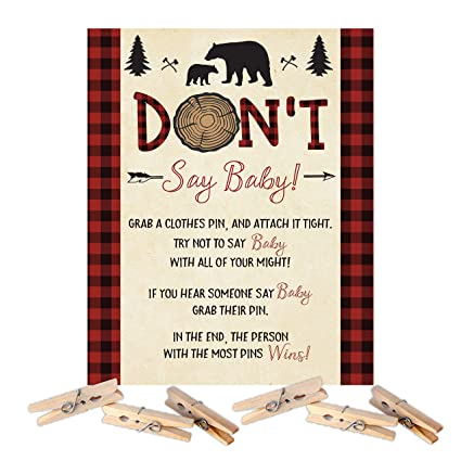 e37c15ee29 Amazon.com: Lumberjack Bear Baby Shower Don't Say Baby Clothespin ...