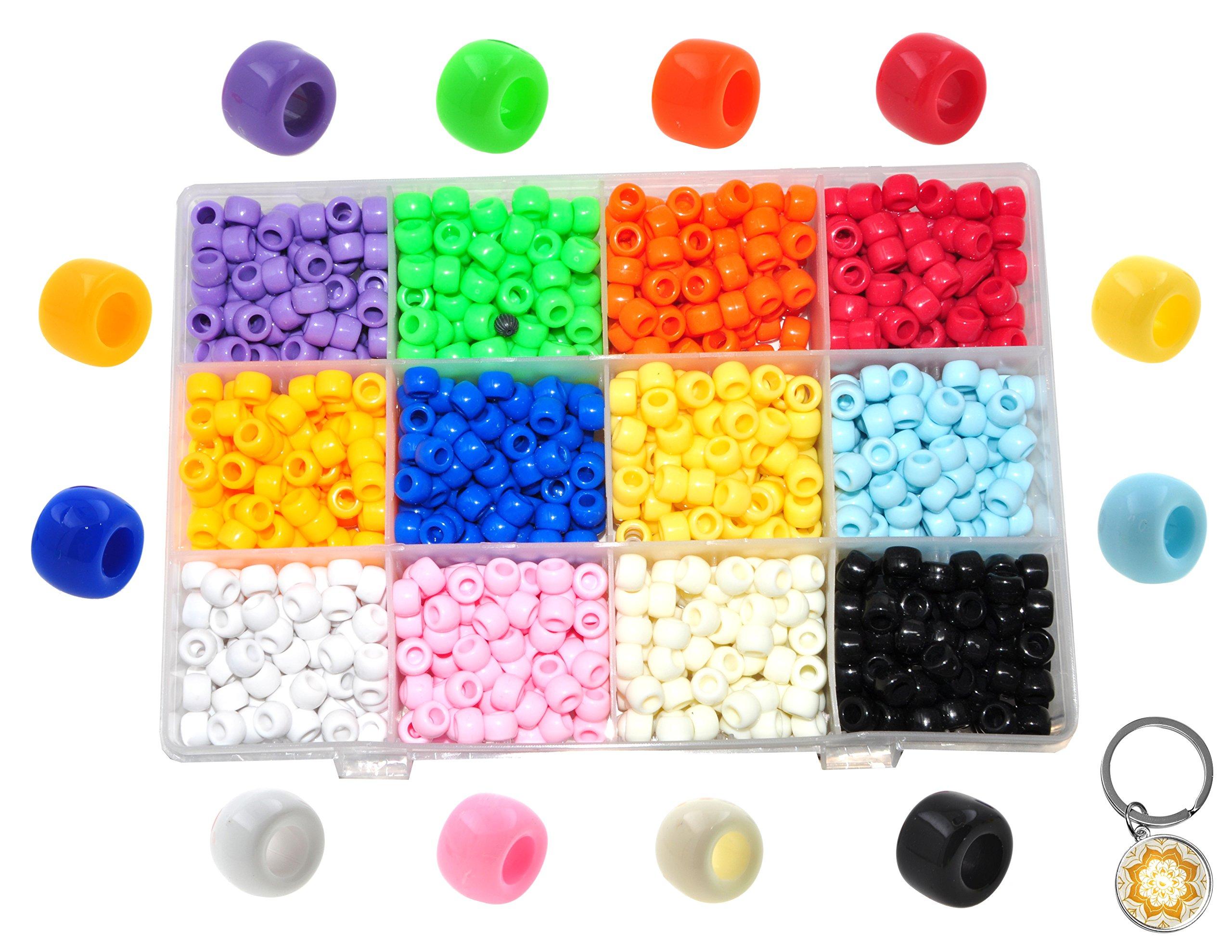 Mandala Crafts Pony Beads Kit from Plastic Acrylic with Organizer Box, Opaque Multi Colored Assorted Bulk Variety Set (9 X 9 X 6 mm, Rainbow)