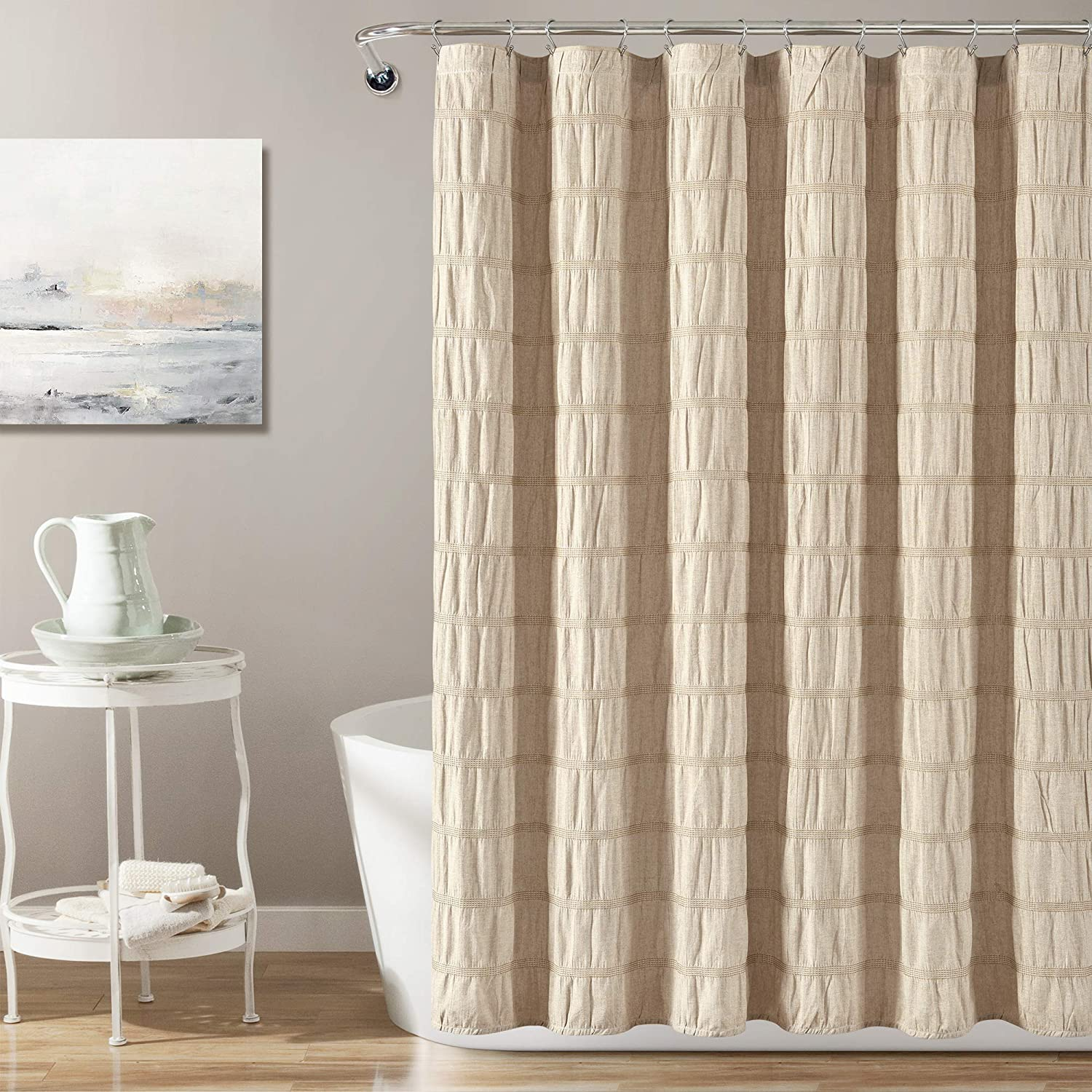 "Lush Decor Taupe Waffle Stripe Woven Cotton Shower Curtain, Bathroom Accessories (72"" x 72"")"