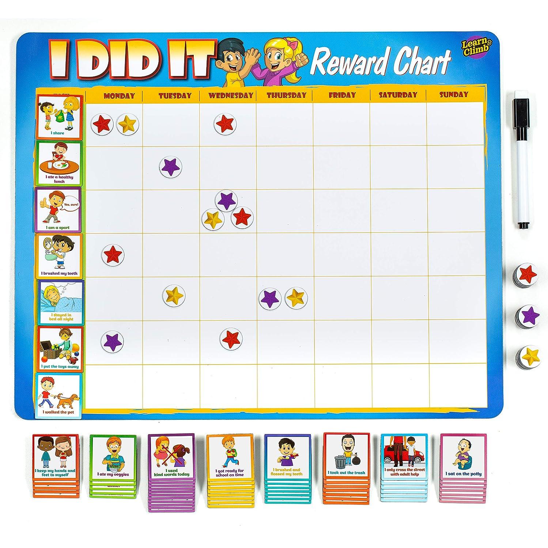 "Kids Reward Chart 63 Behavioral Chores as Potty Train Behavior More. ""Thick Magnetic"" Board Tasks for Multiple Kids"