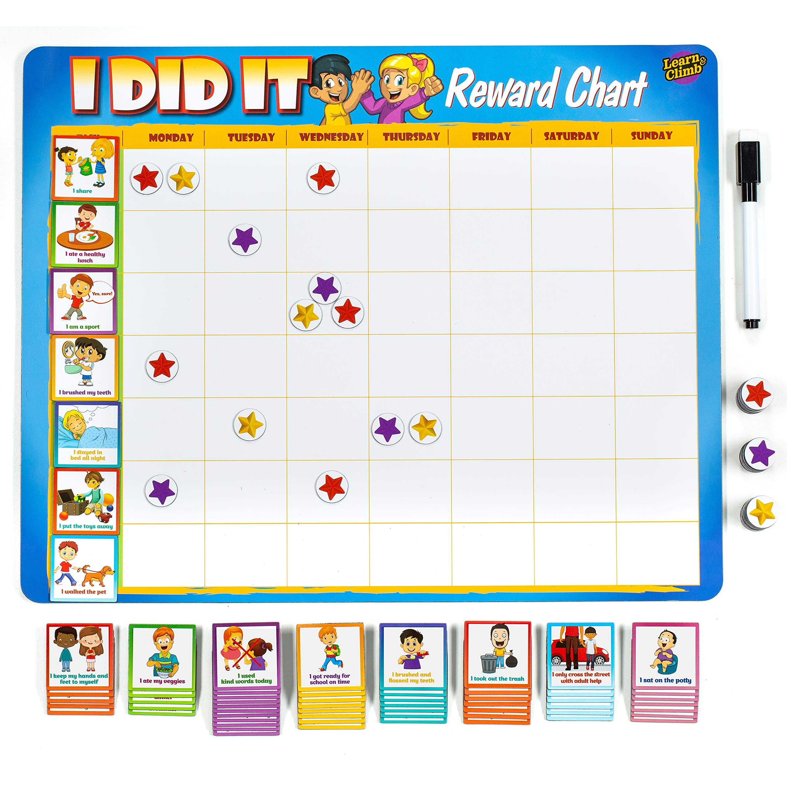 Learn & Climb Toddler Chore Chart - 63 Behavioral Chores as Potty Train, Behavior & More. ''Thick Magnetic'' Reward Chart Board/Tasks-for Multiple Kids by Learn & Climb