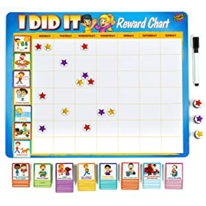 "Learn & Climb Kids Chore Chart - 63 Behavioral Chores as Potty Train, Behavior & More. ""Thick Magnetic"" Reward Chart Board/Tasks-for Multiple Kids"