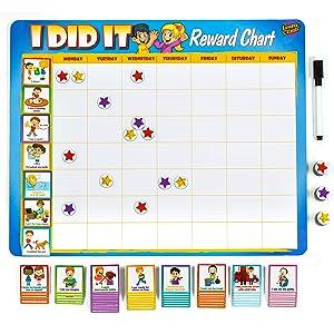 "Learn & Climb Kids Chore Chart - 63 Behavioral Chores as Potty Train, Behavior & More. ""Thick Magnetic"" Reward Chart Board/Tasks-for Multiple Kids"