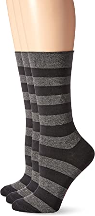 Hue Womens Ribbed Metallic-Stripe Socks Black Size 9-11