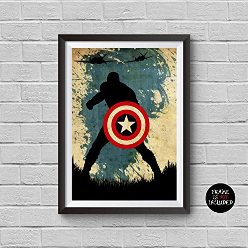 Captain America Vintage Poster Marvel Movie Print Minimalist Avengers  Poster Artwork Wall Art Home Decor Wall
