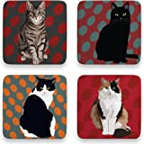 Leslie Gerry Cat Coasters Set of 4