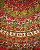 """Indian Mandala Print Round Cotton Tablecloth 76"""" Red"""