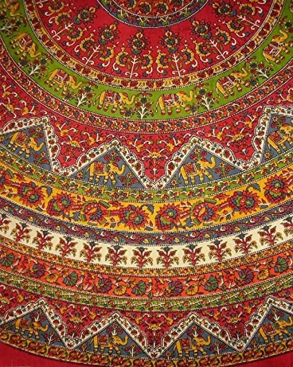Etonnant Indian Mandala Print Round Cotton Tablecloth 76u0026quot; ...