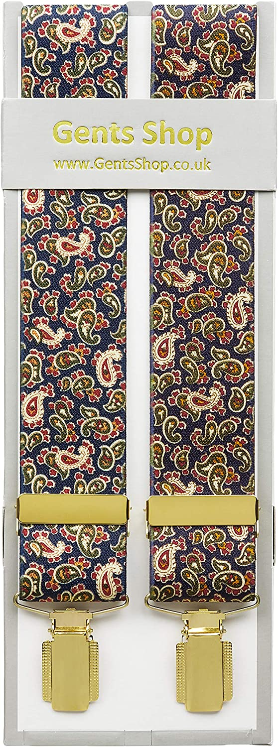 XXXL Navy Blue Quality Clip On Mens Paisley Trouser Braces Wedding Suspenders Extra Large Sizes 3XL 52 Inches Long Made In Britain , Blue XXXL 56 Inches Long