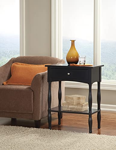 Shaker Cottage End Table with One Drawer and One Shelf, Charcoal Gray
