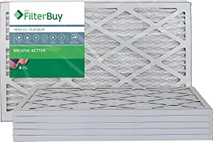 FilterBuy 12.5x21x1 MERV 13 Pleated AC Furnace Air Filter, (Pack of 6 Filters), 12.5x21x1 – Platinum