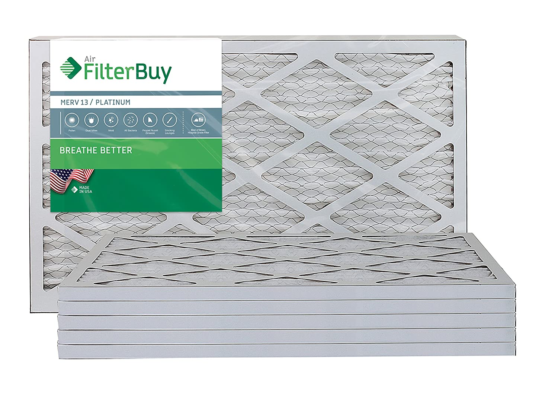 FilterBuy 12x24x1 MERV 13 Pleated AC Furnace Air Filter, (Pack of 6 Filters), 12x24x1 – Platinum