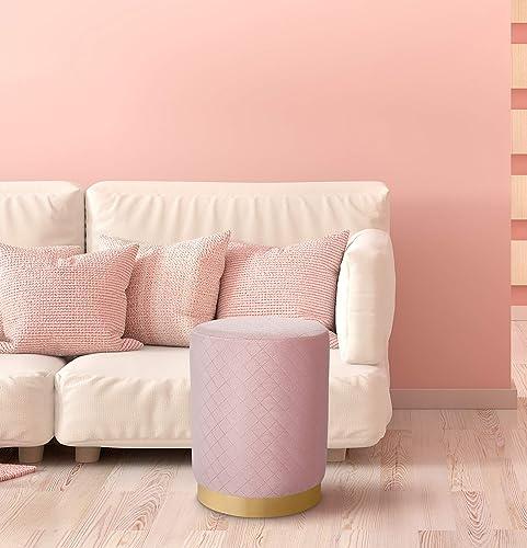BIRDROCK HOME Round Pink Velvet Ottoman Foot Stool