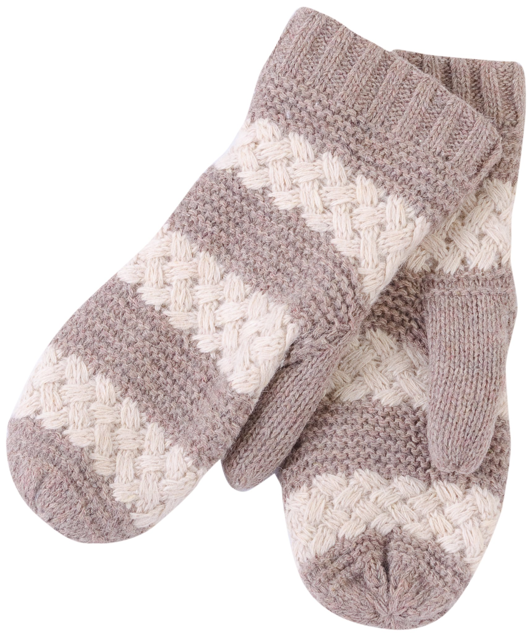 Tickled Pink Women's Faux Fur Lined Mittens Lightweight Striped, Taupe, One Size