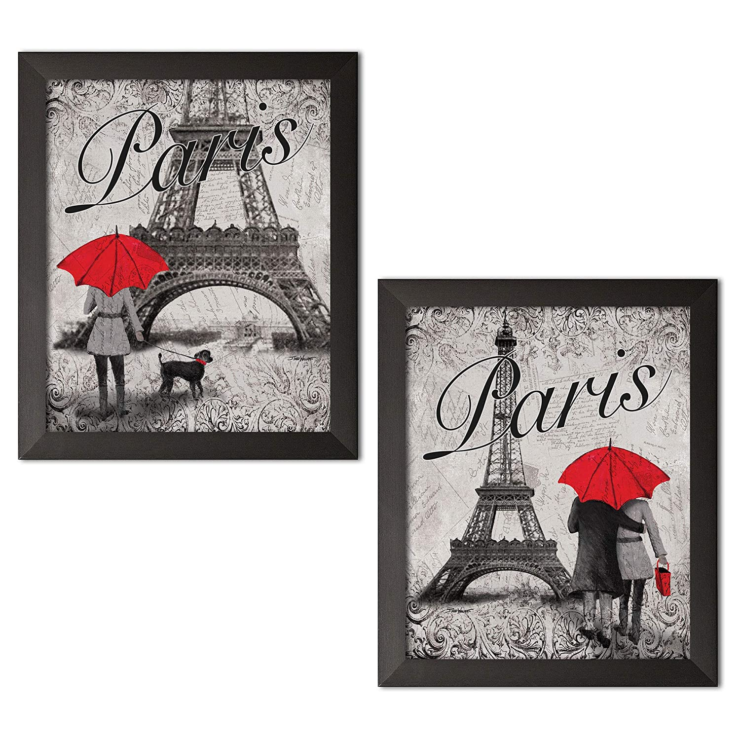 Gango home decor strolling in paris two beautiful 11 x 14 in poster prints eiffel tower and red umbrella set paris décor two 11x14 black framed prints