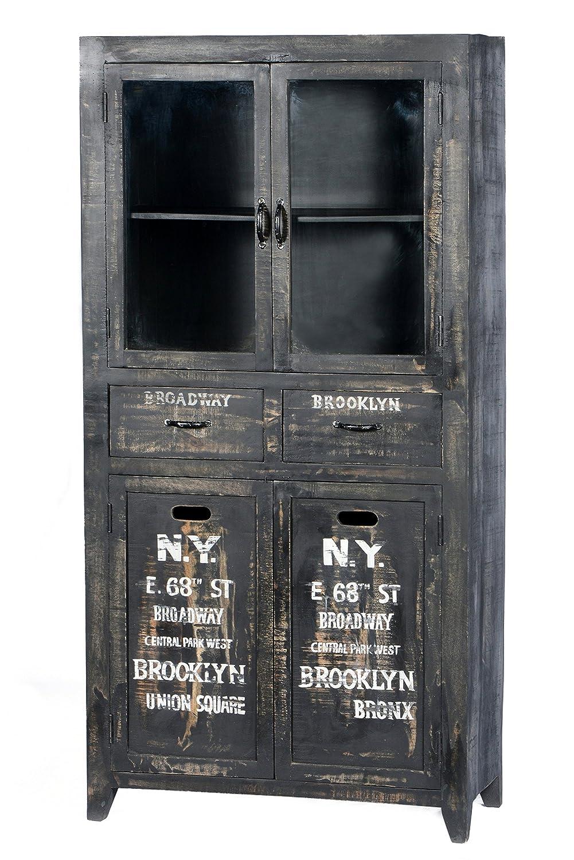 SIT-Möbel 4204-11 Vitrine Bronx, 90 x 40 x 180 cm, Mangoholz lackiert, antikschwarz