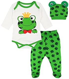 Lilax Baby Girl Fun Unique Soft Cotton Bodysuit, Cap, and Pant Layette 3 Piece Gift Set and Pant Layette 3 Piece Gift Set 6M Frog 2608