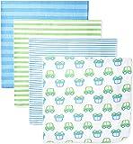 Gerber Baby Boys' 4 Pack Flannel Blankets