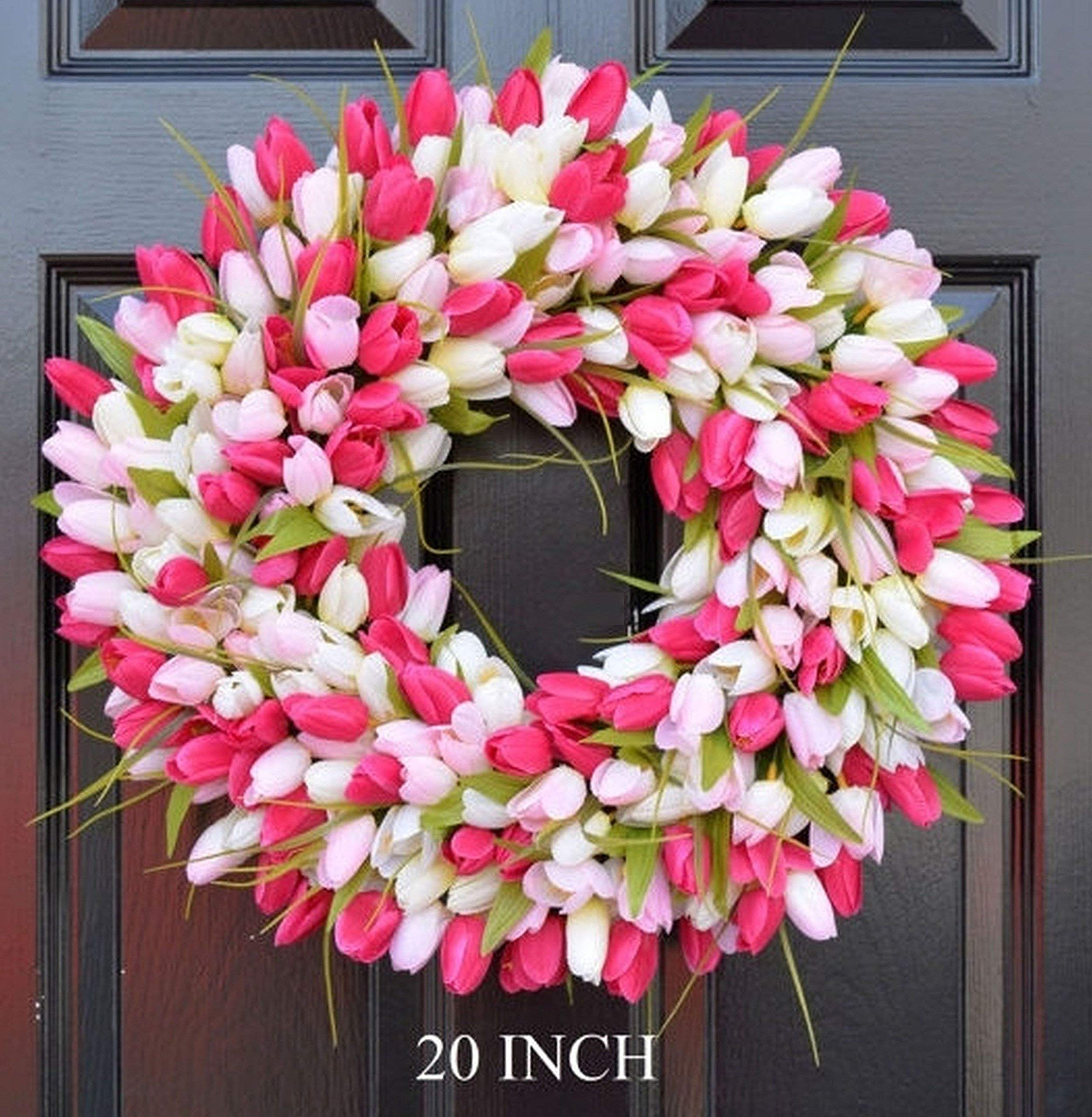 silk flower arrangements elegant holidays handmade pink/white silk tulip wreath- decorative home décor for indoor/outdoor- welcome guests in spring, summer with front door wreaths- great easter holiday accent- 16-26 inches