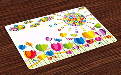 Amazoncom Lunarable Floral Place Mats Set Of Tulip Flowers With - Kids tulip table