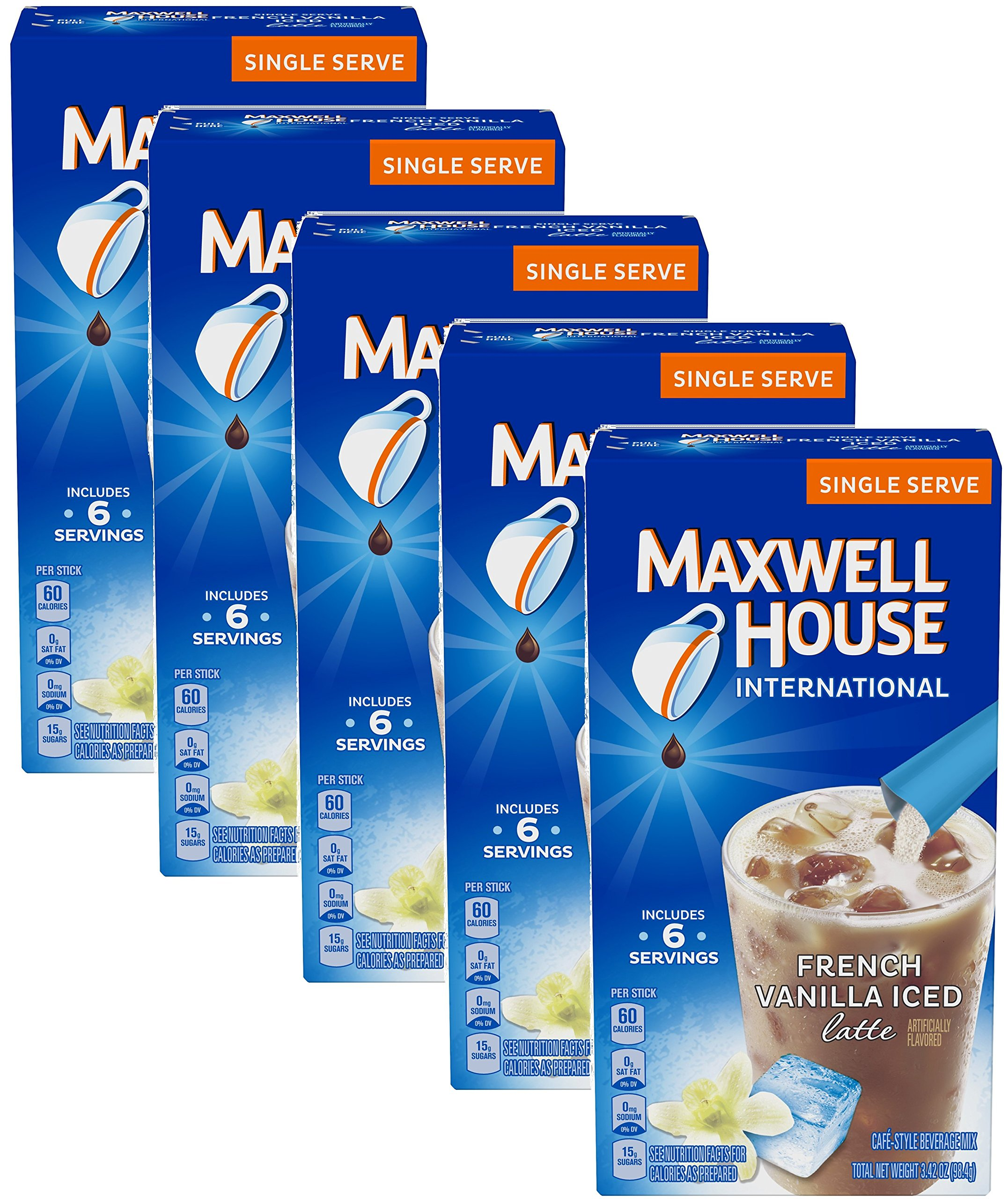Maxwell House International Cafe Iced Latte Cafe-Style Beverage Mix, Single Serve Packets, 3.42 OZ, French Vanilla 6 ea (pack of 5)