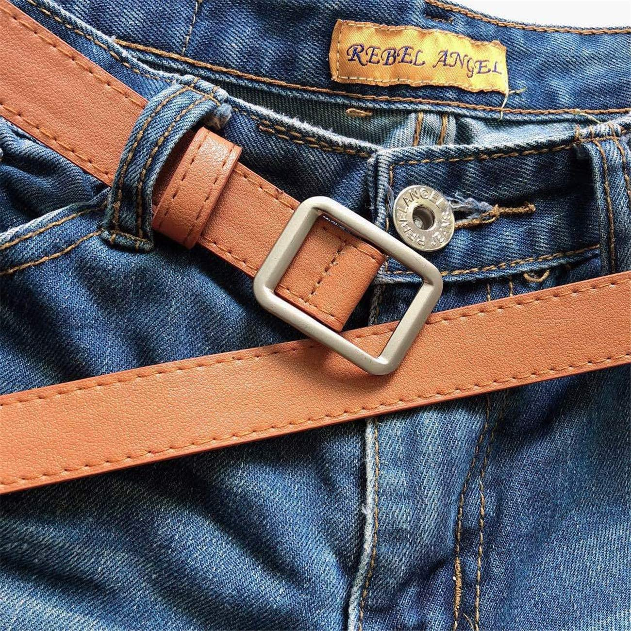 Soluo Women Retro No Holes Belt Alloy Buckle Belt for Dresses Square Alloy Waist Fiber Belts