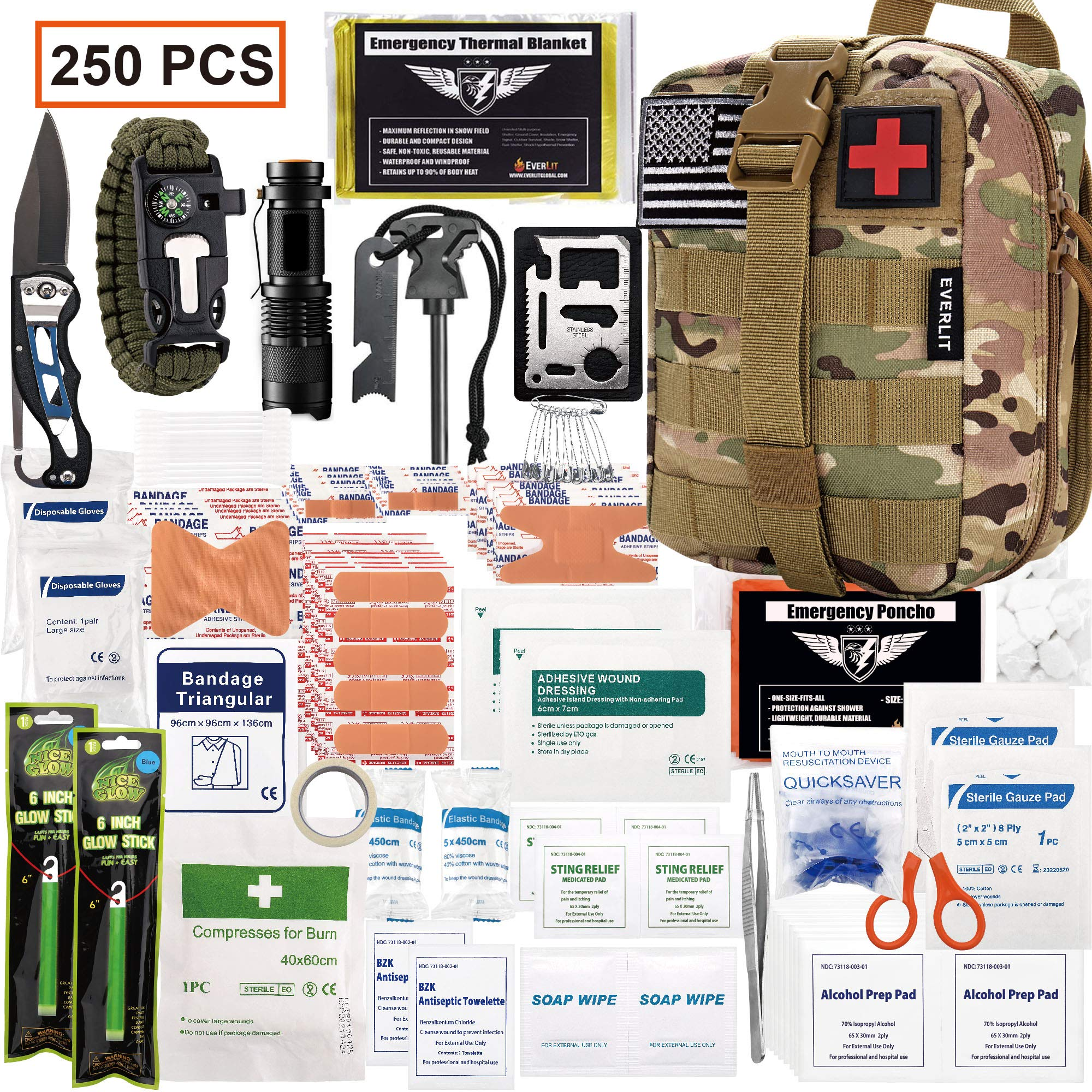 EVERLIT 250 Pieces Survival First Aid Kit IFAK Molle System Compatible Outdoor Gear Emergency Kits Trauma Bag for Camping Boat Hunting Hiking Home Car Earthquake and Adventures (CP Camo) by EVERLIT