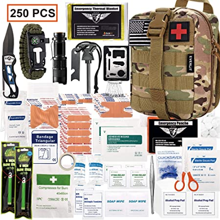 EVERLIT 250 Pieces Survival First Aid Kit IFAK Molle System Compatible Outdoor Gear Emergency Kits Trauma Bag for Camping Boat Hunting Hiking Home Car Earthquake and Adventures