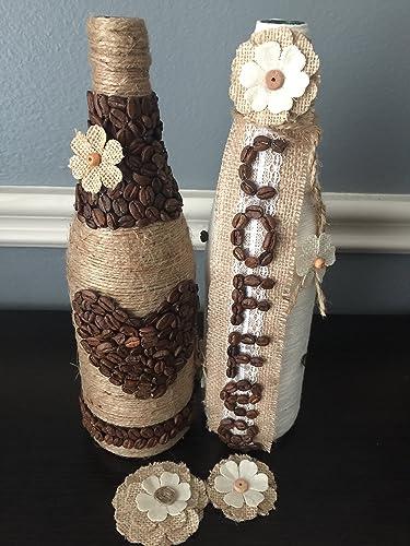 decorated glass bottles. Glass Bottles  Decorated Decoupage Home Decor Centerpieces Amazon com Wine