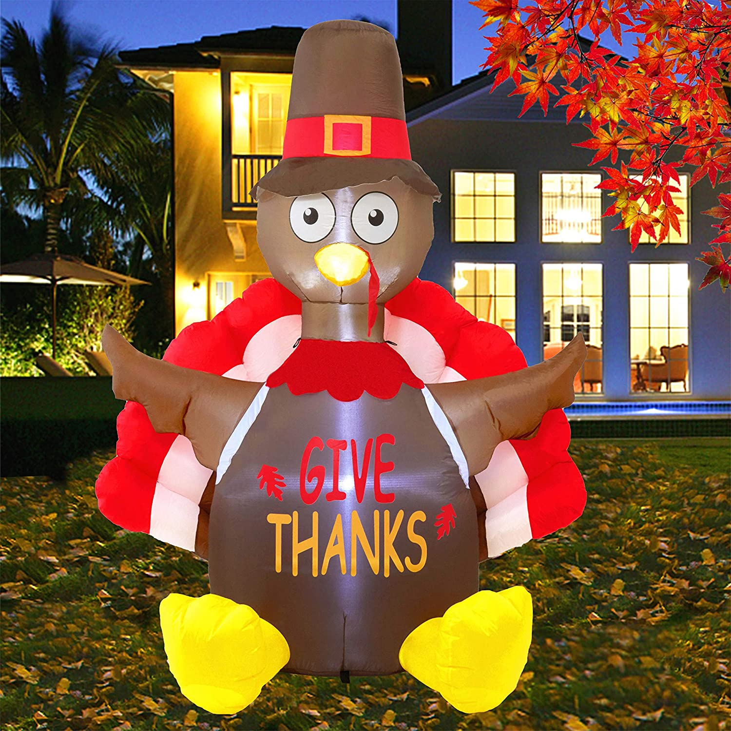 Thanksgiving Inflatables with LED Lights Yard Lawn Decor Display Autumn Fall Outdoor Decor 6FT Blow up Turkey Happy Thanksgiving Twinkle Star Thanksgiving Decorations Inflatable Lighted Turkey