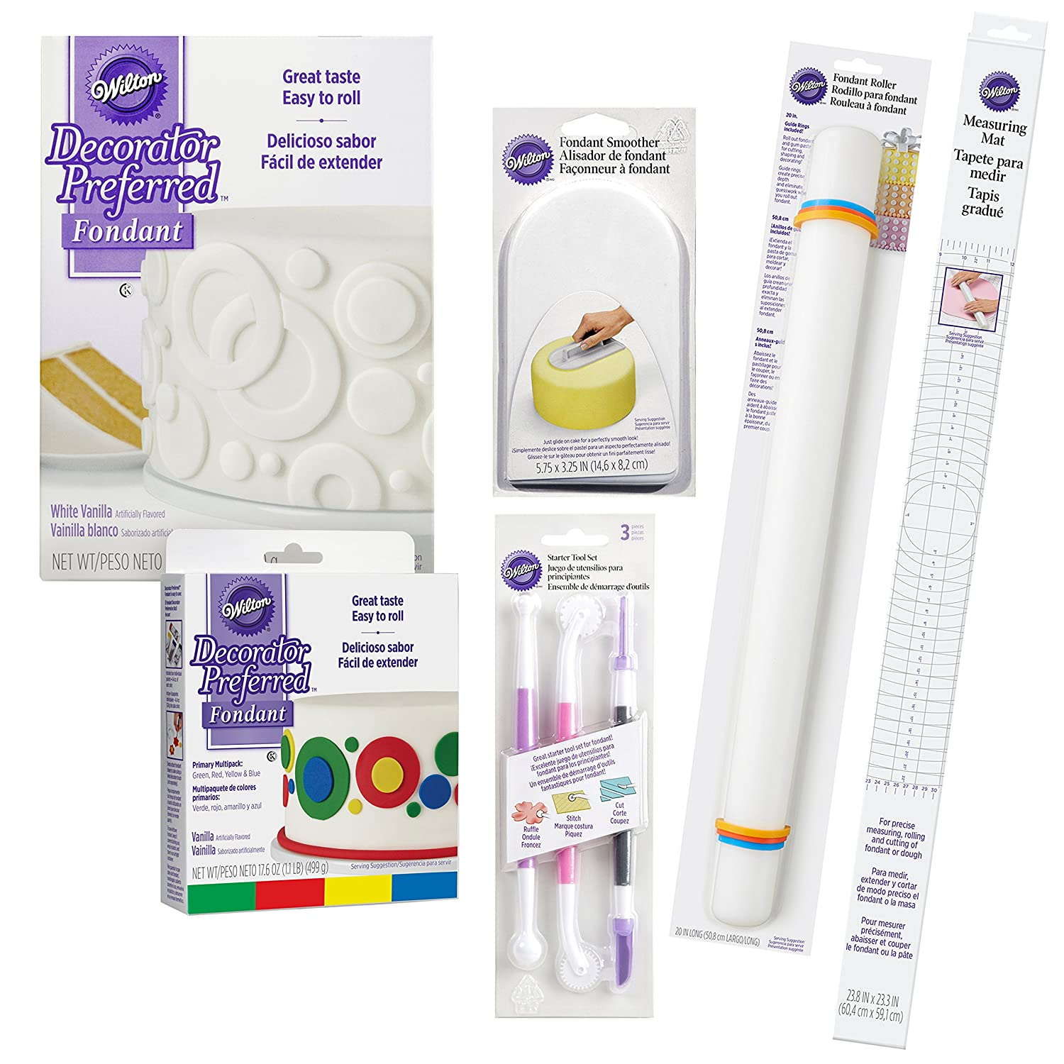 Amazon.com: Wilton Fondant Tool Set, Intermediate, 15-Piece - White and Primary Color Fondant, Smoother, Rolling Pin, : Kitchen & Dining