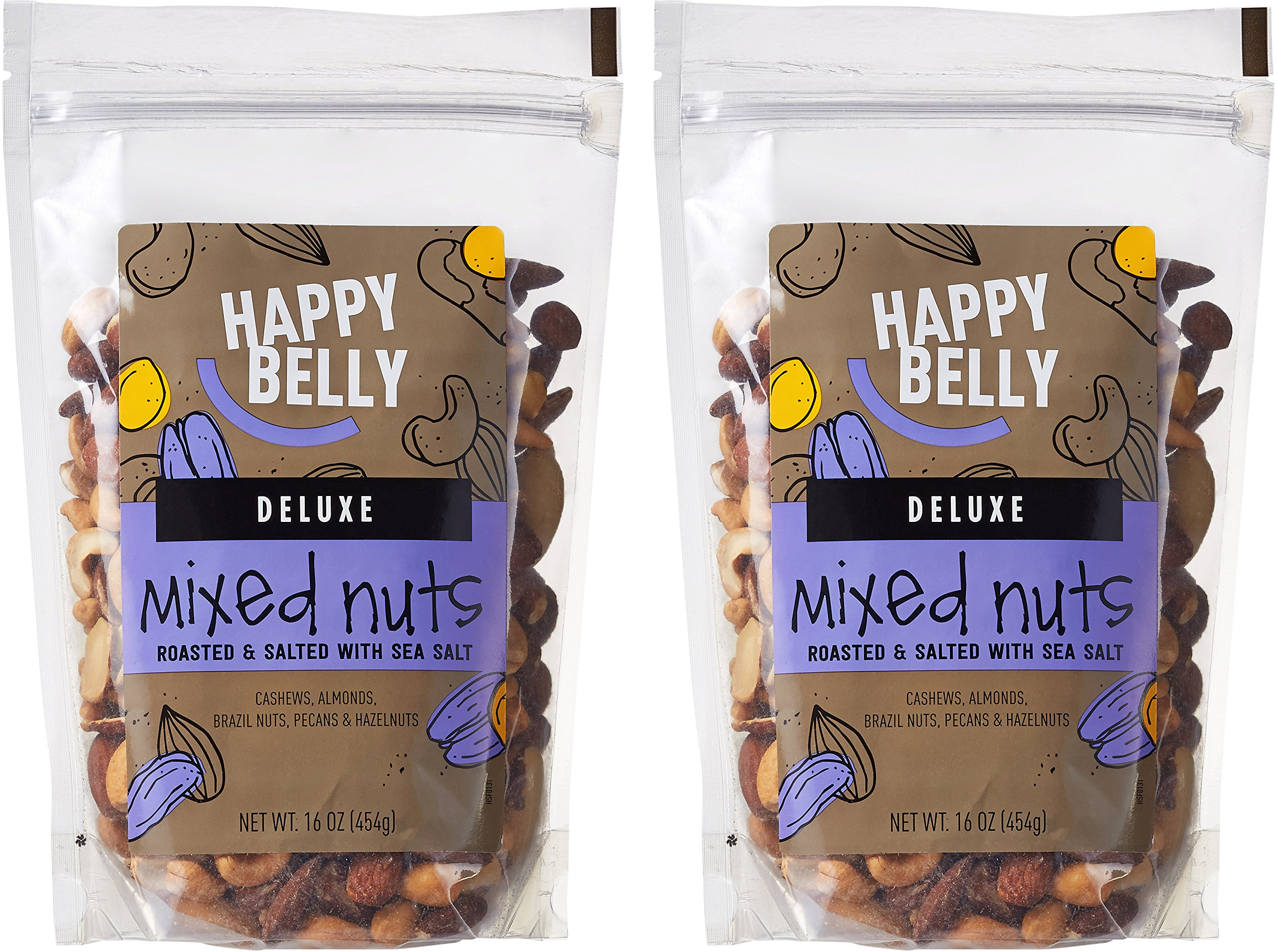 Amazon Brand - Happy Belly Deluxe Mixed Nuts, 16 Ounce, Pack of 2