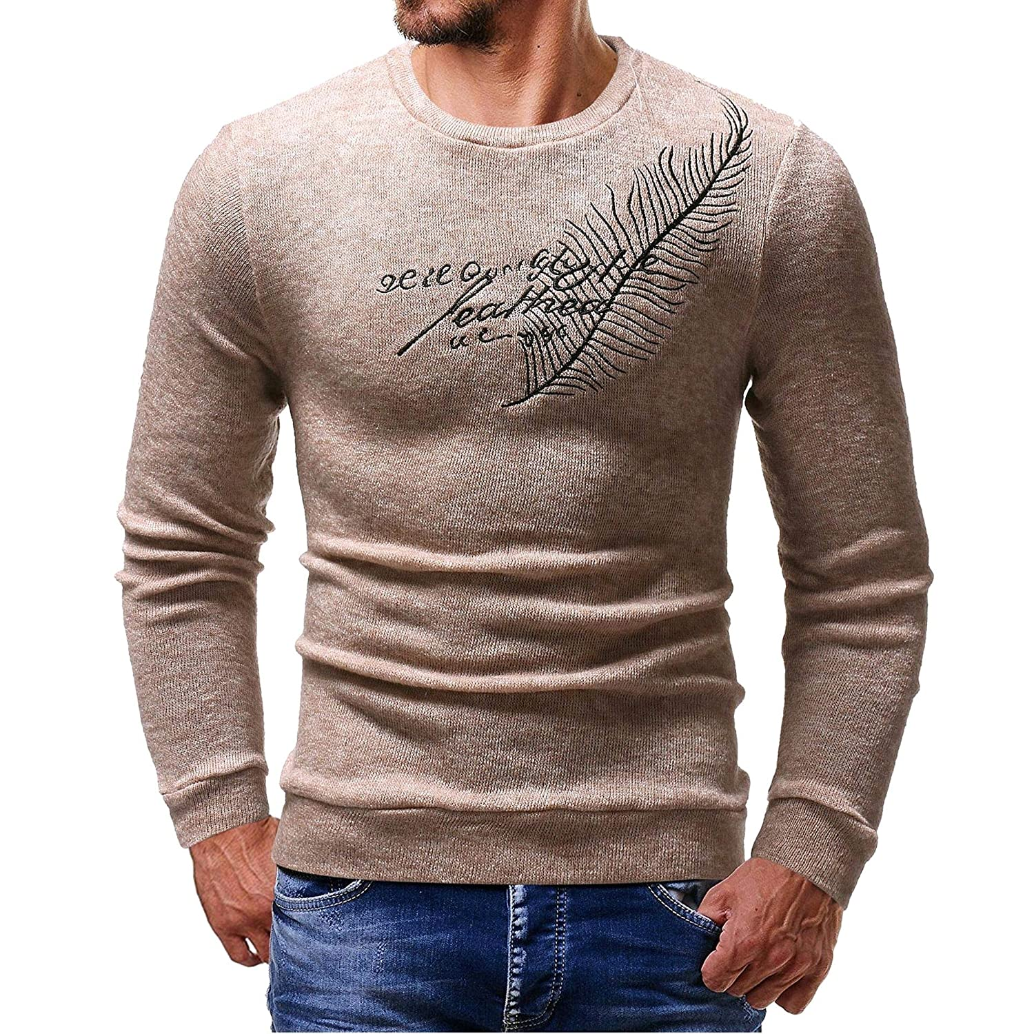YUNY Mens Knitting Silm Embroidery Plus Size Pullover Sweater Beige M