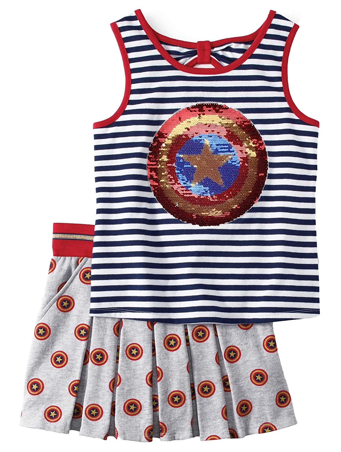 Captain America Girls Hero Americana Tank and Scooter 2 Piece Outfit Set