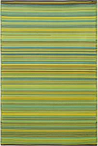 Fab Habitat Reversible Rugs | Indoor or Outdoor Use | Stain Resistant, Easy to Clean Weather Resistant Floor Mats | Cancun - Lemon & Apple Green, 4' x 6'