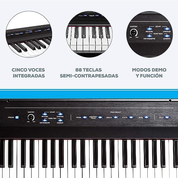 Alesis Recital - Teclado de Piano Digital Eléctrico con 88 Teclas Semipesadas de Tamaño Completo, Fuente de Alimentación, Altavoces Incorporados y 5 ...