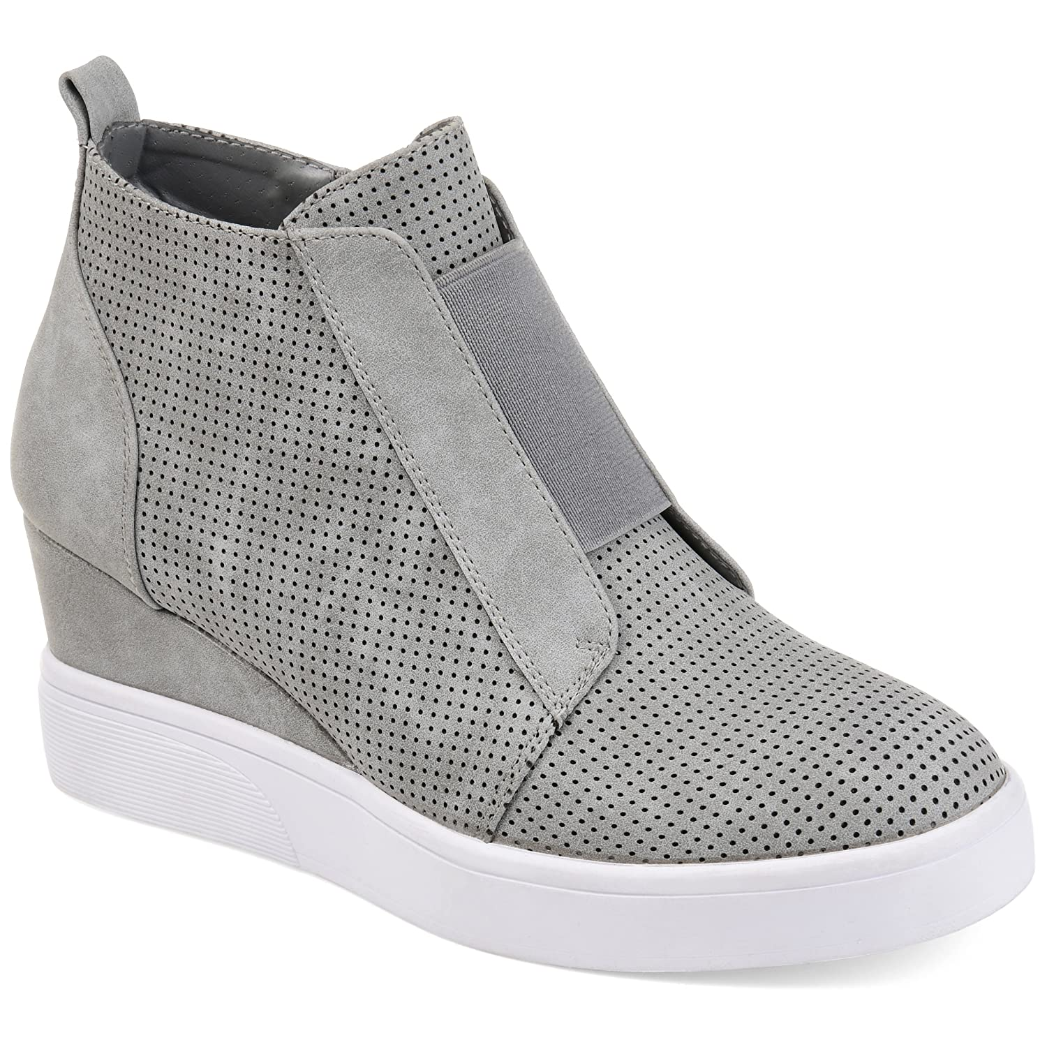 Journee Collection Womens Athleisure Laser-Cut Side-Zip Sneaker Wedges B07BYH8D9X 11 B(M) US|Grey