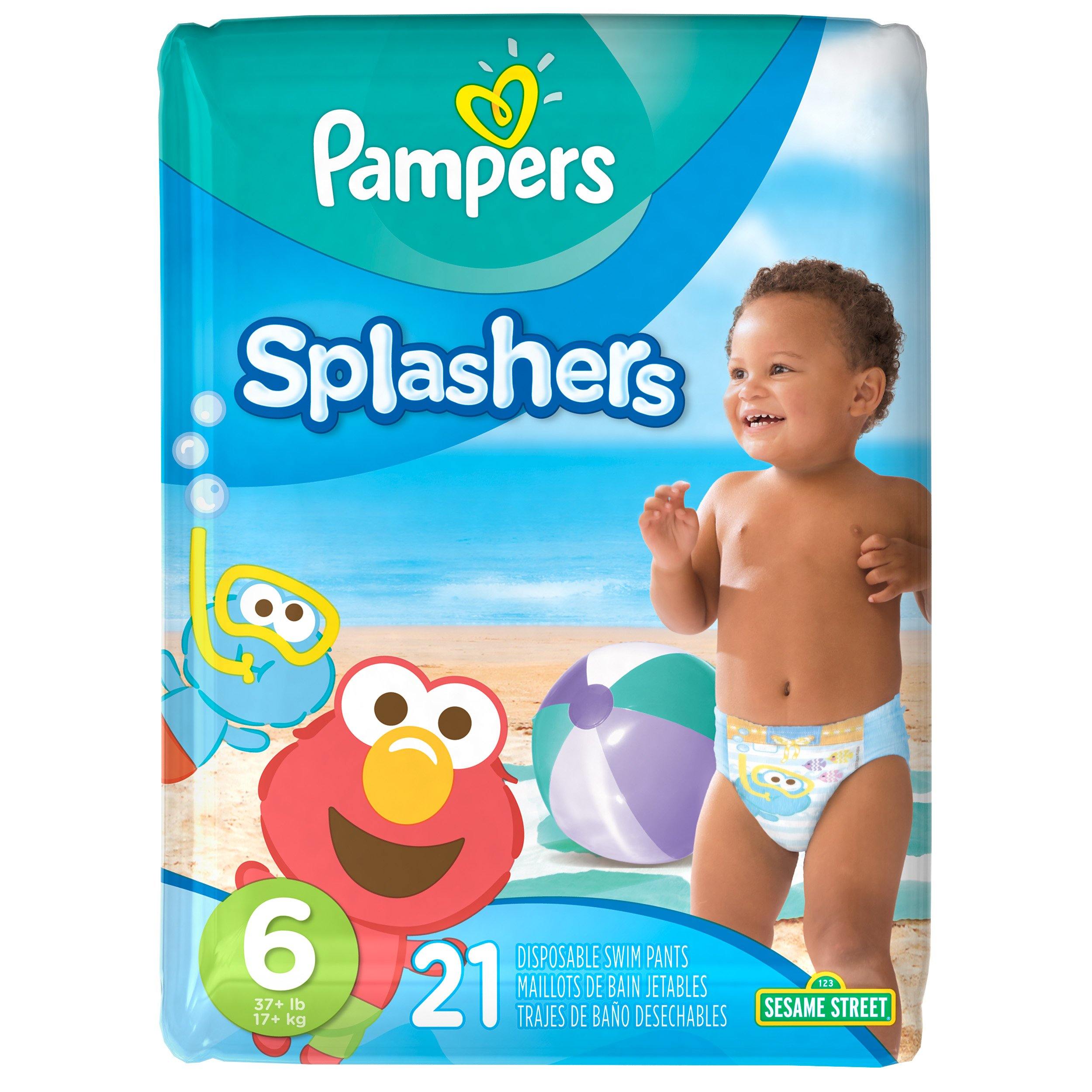 Pampers Splashers Disposable Swim Diapers, Size 6, 21 Count, JUMBO (Pack of 6)