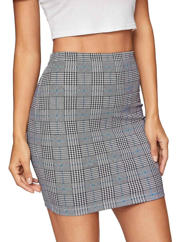 Royal bluee SheIn Women's Basic Stretch Plaid Mini Bodycon Pencil Skirt