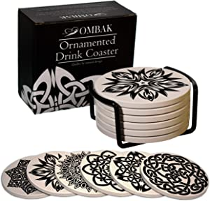 Ombak Coaster for Drinks, Extra Large and Absorbent, Ornamented with 6 Timeless Unique Celtic Knots to Accent Any Decor, Set of 6 with Holder for Living Room Kitchen Or Office