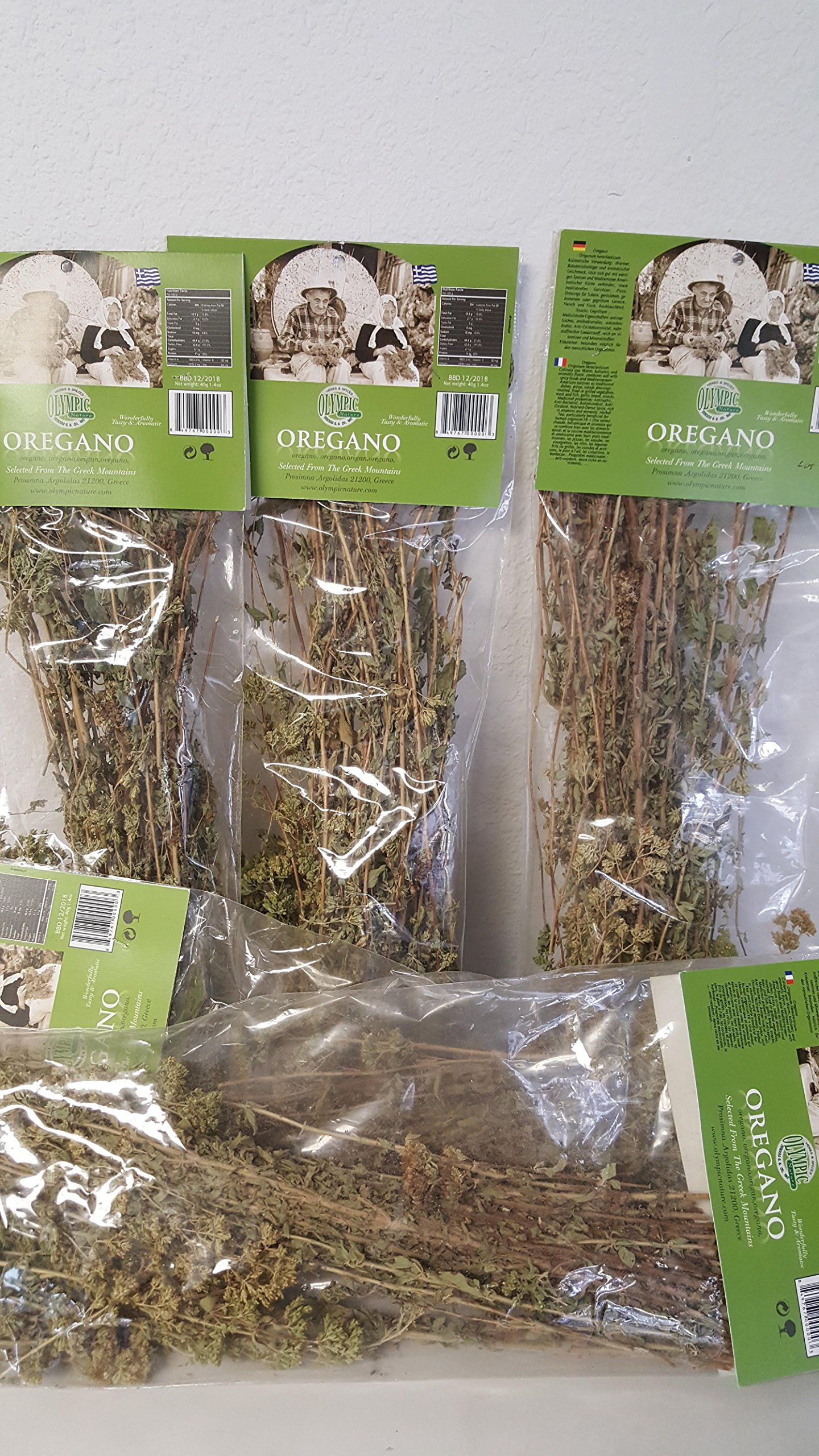 DRIED WHOLE BUNCHED GREEK OREGANO LOT 7oz total (5 pack)