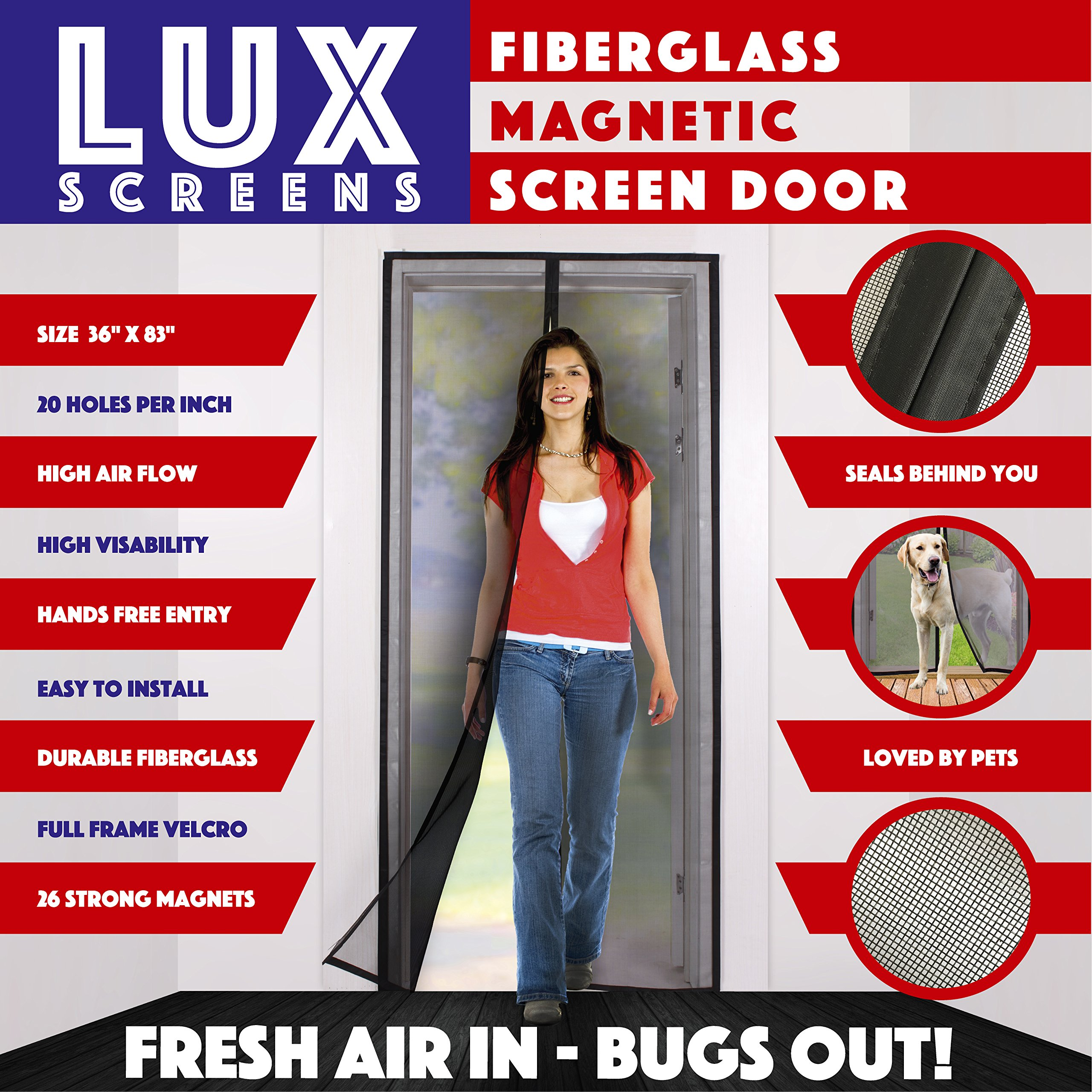 Magnetic Screen Door New 2017 Patent Pending Design Full Frame Velcro & Fiberglass Mesh Not Polyester This Instant Retractable Bug Screen Opens and Closes like Magic it's the Last Screen You'll Need