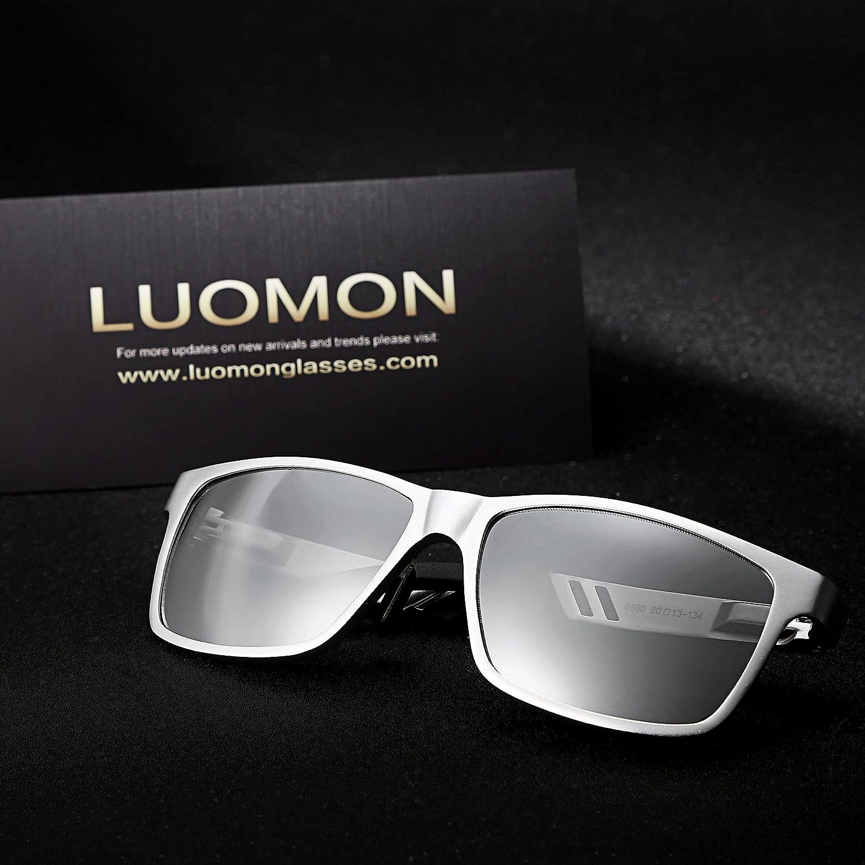 95c123de752 ... LUOMON Mens Polarized Wayfarer Sunglasses with 59mm Rectangular Lens  Unbreakable Frame LM031 170808LM031-BLO ...